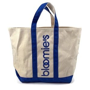 Bloomingdales Canvas Tote Bag Shopping Blue Stripe